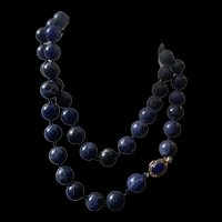 Vintage Chinese Export Hand Knotted Blue Lapis Lazuli Beads Necklace
