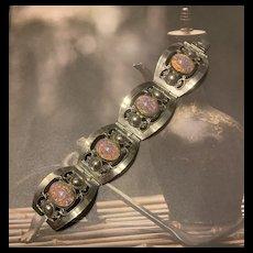 Fabulous Mexican Vintage Large Sterling Foil Opal Panel Bracelet