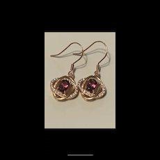 Vintage Gilt Sterling Genuine Garnet With Cubic Zircon Earrings