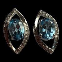 Estate Vintage Sterling Genuine Aquamarine Earrings