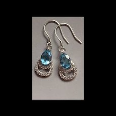Estate Vintage Sterling Natural Aquamarine Drop Earrings