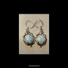 Stunning Vintage Sterling And 14K Vermeil Larimar Drop Earrings
