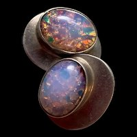 Gorgeous Vintage Mexican Large Sterling Silver Foil Opal Earrings