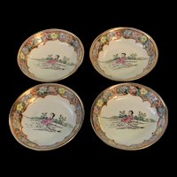 Vintage Rose Medallion Chinese Export Porcelain Small  Dishes