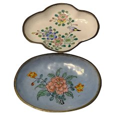 Rare Gorgeous Chinese Export Enamel Cloisonné Candy Dishes