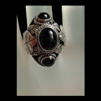 Awesome Vintage Mexico Sterling Silver Locket/ Poison  Adjustable Ring With Black Onyx