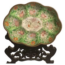 Rare Antique Hand Crafted Floral Design Chinese Cloisonné Enamel Scolloped Vanity Bowl