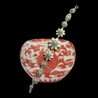 Gorgeous Vintage Sterling Marcasite Floral Linked Bracelet With Mother Of Pearl