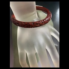 Gorgeous Antique Chinese Export Red Cinnabar Bracelet Bangle