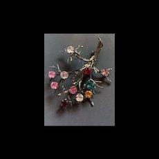 Gorgeous Vintage Multi Gemstone Sterling Silver 925 Tree Brooch