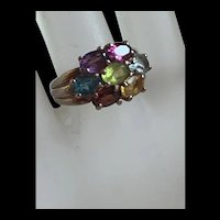 Gorgeous Sterling Silver Multi Gemstone Floral Ring