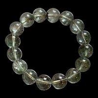 Vintage Gorgeous Natural Green Ghost Phantom Quartz Crystal Beads Stretch Bracelet