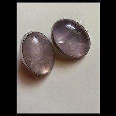 Vintage Large Sterling Rose Quartz Earrings With Artists  Signed