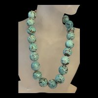 Superb Vintage Sterling Silver Native American Genuine Turquoise Beads  Necklace