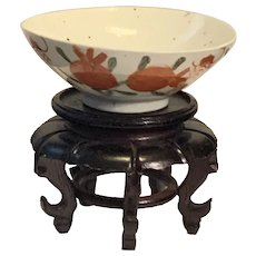 Antique Chinese Famille Rose Porcelain Bowl Decorated With Pomegranate And Cicada