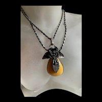 Super Fabulous Antique Baltic Butterscotch Amber Leafy Floral Pendant With Antique Sterling Silver Necklace