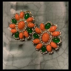 Stunning Vintage Faux Coral And Chrysoprase Clip Earrings