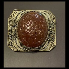 Antique Chinese Filigree Silver Carved Carnelian Floral Motif Brooch