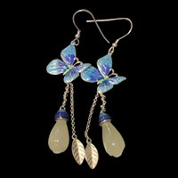 Extremely Elegant Dangle Sterling Cloisonne Butterfly With Carving White Jade Bud Earrings