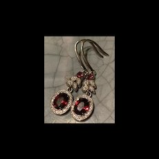 Gorgeous Sterling Silver Genuine Garnet Drop Earrings
