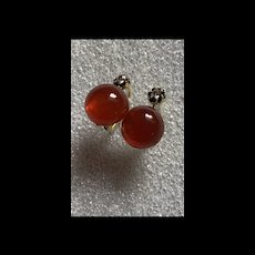 Stunning Gold Tone Faux Amber With Paste Diamond Level Back Earrings