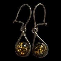 Vintage Sterling Silver Baltic Amber Drop Earrings