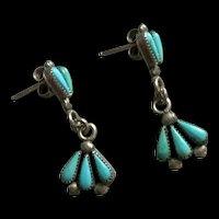 Fabulous Sterling Silver Native American Zuni Turquoise Sleep Beauty Drop Earrings