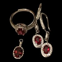 Gorgeous Sterling Silver Garnet Necklace,Pendant,Earrings And Ring Set