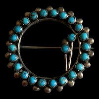 """Gorgeous Vintage Large Turquoise Sterling Pin Brooch Signed """"E"""" Wreath Flower Shape Southwestern"""