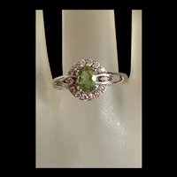 Gorgeous Natural Green Tourmaline Sterling Silver Adjustable Ring