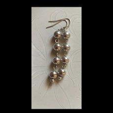 Gorgeous Vintage Sterling Silver Bead Ball Drop Dangle Earrings