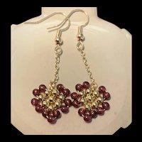 Gorgeous 14K Gilt Silver Garnet Dangling Earring
