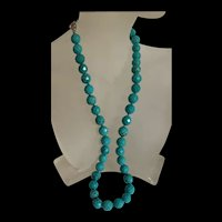 Stunning Designer LUC Sterling Silver Natural Faceted Turquoise Necklace