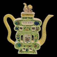 Hold For Jeff 19th Chinese Polychrome Famille Verte Teapot With Floral