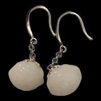 Gorgeous Sterling Silver White Jade Seedpod Of Lotus Drop Earrings