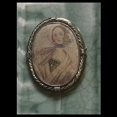 Antique Victorian Sterling Silver Hand Painted Miniature Portrait Brooch/Pendant Signed