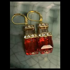 Gorgeous Faux Crystal Gold Tone Drop Earrings