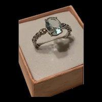 Timeless Beautiful Vibrant Sterling Natural Aquamarine Ring