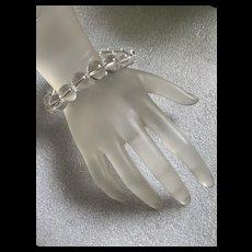 Fabulous Vintage High Quality White Rock Crystal Round Beads Stretch Bracelet