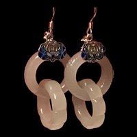 Gorgeous vintage Sterling Hetian White Jade Interlocking Earrings