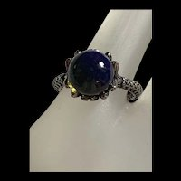 Exquisite Natural Dominican Clear Blue Amber Sterling Silver Ring