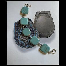 Stunning Vintage Mexico Sterling Silver Turquoise Bracelet