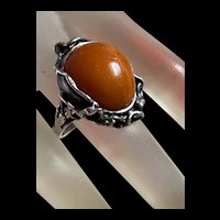 Antique Baltic Amber Butterscotch Sterling Silver Ring
