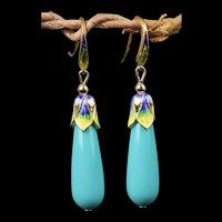 Stunning 14K Gilt Faux Turquoise Sterling Silver Enamel Dangling Earrings