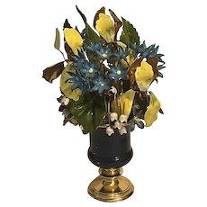 Antique Vintage French Enamel Tole Copper Flower Vase With Artisan Signature