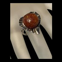 Stunning Vintage Sterling Silver Baltic Jade Golden Honey Amber Ring