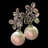 Gorgeous Sterling Silver Genuine Pearl Drop Earrings