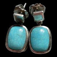 Stunning Lia Sophia Sterling Silver Sky Blue Turquoise Earrings