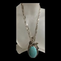 Very Extremely Elegant Large Vintage Sterling Silver Turquoise Pendant Necklace