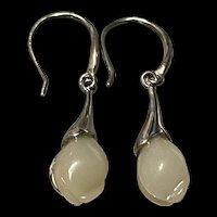 Stunning Vintage Sterling Silver Hetian White Jade Flower Bud Earrings